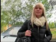 Czech blonde riding dick on the backseat