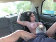 Round and huge tits babe fucks cab driver