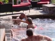 Short skinny Emma Hix swims with friends and banged in