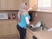 Arab chick masturbates in library