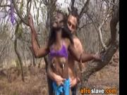 African Slave Blows Big Schlong Outdoors