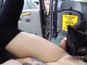 Female taxi driver made brunette cum