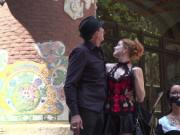 Babe disgraced and double penetrated in public