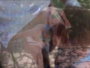 Redhead tennis player pounded by the coach with her fri