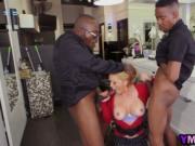 Blonde milf bangs two black schlongs at hair studio