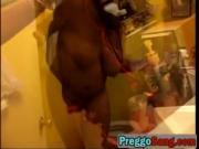 Amateur ebony pregnant babe doggy style riding