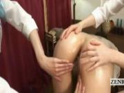 Subtitled Japan lesbian sensual butt massage threesome