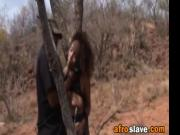 African Slave Gets Forced Into Sucking Outdoors