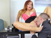 Employee fucks his big tits redhead boss