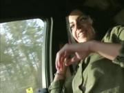 Hot stranded Eveline Dellai fucks a stranger in the car