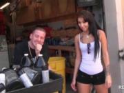 Sexy teen sucks dick for cash in a garage
