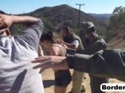 Brunette teen banged by border guard outdoors