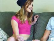 Alaina Dawson fucks her girlfriends bf on the couch