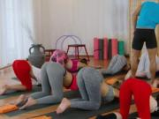 Fitness coach licks and bangs two babes