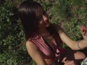 Angie White giving a hot outdoor deep throat blowjob