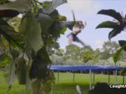 Trampoline big tit blows thick dick