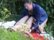 Hot chick sucks, fucks and gets creamed in the woods