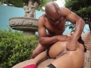 Sexy shemale slut fucks black cock
