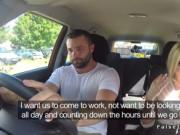 Natural big tits driving examiner rides big cock