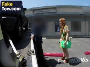 Redhead chick blows long throbbing cock in tow truck