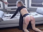 Couple made blonde artist ride Sybian