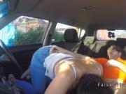 Brunette cock sucker in driving school