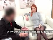Redhead gives good blowjob to fake agent
