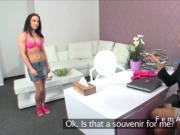 Slim brunette licks female agent in casting