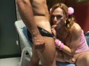 Posh tranny uses male cock