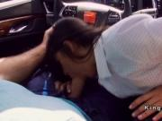 Latina in tight skirt gives blowjob in car