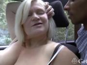 Blonde gilfs sharing long black dong in threesome
