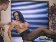 Busty Babe Simone Garza Worships Big Cock Of Boss