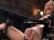 Hanged on the wall sub rides Sybian