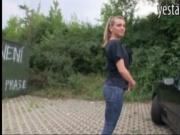 Blonde euro slut blows and fuck outdoors