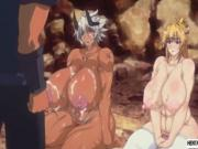 Two huge titted hentai babes gets fucked and jizzed by