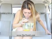 Girl car sick vomit puke puking vomiting barf gagging