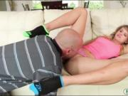 Skinny teen babe Scarlett Fever gets banged by stepdad