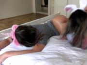 Lesbian teens playing in the bed