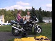 Young girly-girl biker girls