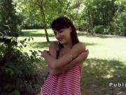 Dude bangs Euro teen beauty outdoor in the park
