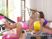 Beautiful asses lesbians in fitness gym