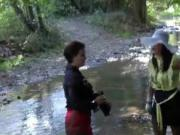 two nasty babes in the river gets horny when uses mud 5