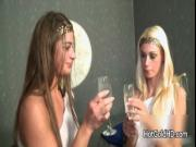 Two nasty lesbian blonde babe are getting drunk, horny