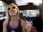 Blonde slut gives road head then fucked