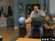 Gay clip of The twink sitting behind the teacher's des