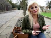 Busty British hottie bangs in public