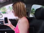 Naughty babe Kendall Kross offers blowjob for a ride