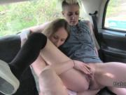 Female cab driver eats hot brunette client