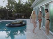 Sexy lesbian babes love summer pool party