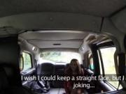 Brunette fucks in Brit fake taxi in public